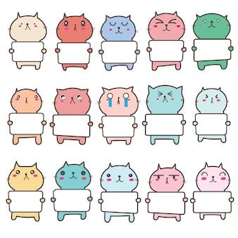 看板デザインを保持しているかわいい猫のセットです。図。