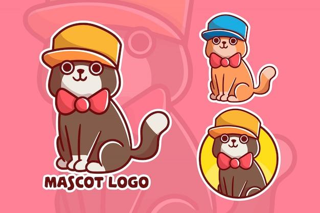 かわいい猫のマスコットのロゴのセット