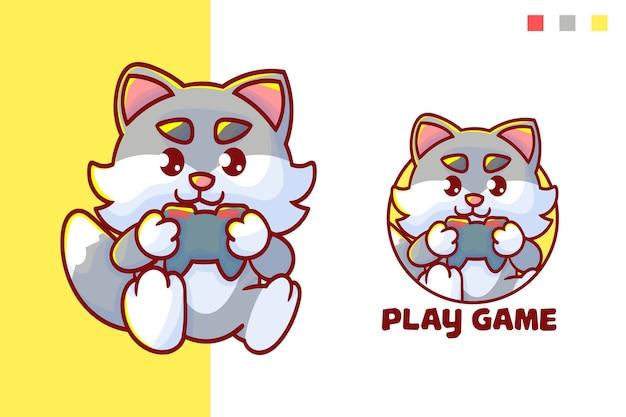 선택적 모양의 귀여운 고양이 놀이 게임 마스코트 로고 세트.