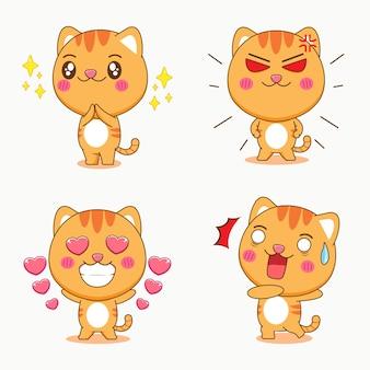 다른 식 만화 일러스트와 함께 귀여운 고양이 세트