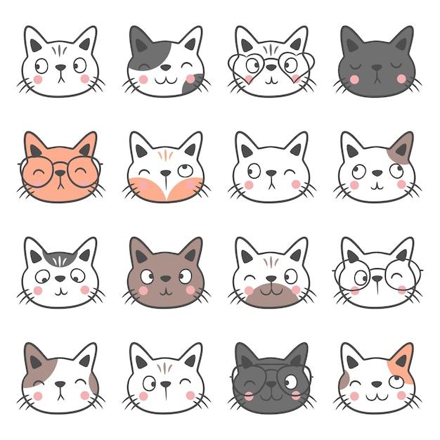 手描きのかわいい猫の頭のセット。動物の顔のコレクション。猫の頭の絵文字。面白い猫