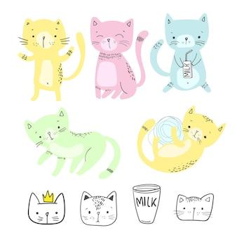 フラットスタイルのかわいい猫のセット、子供のためのイラスト、ベクトルeps 10