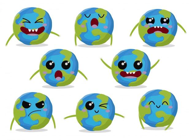 かわいいキャラクター地球イラストのセット