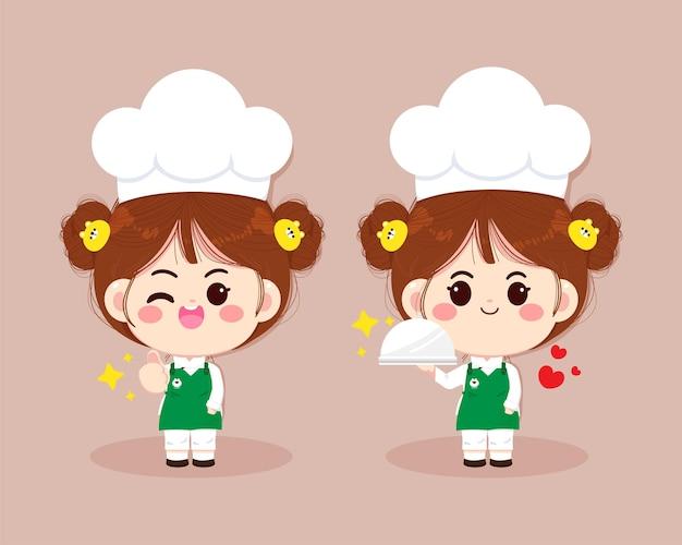 食べ物漫画アートイラストを準備する制服で笑っているかわいいシェフの女の子のセット