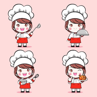 귀여운 요리사 소녀 세트