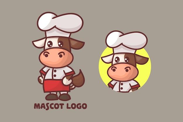 オプションの外観を持つかわいいシェフの牛のマスコットのロゴのセット。
