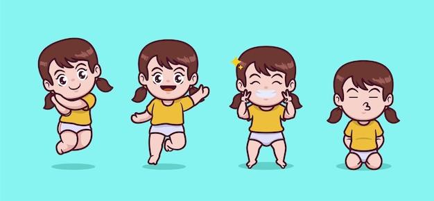 귀여운 꼬마 소녀 세트