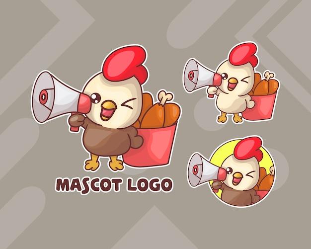 선택적 모양의 귀여운 닭 양동이 마스코트 로고 세트.