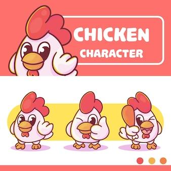 オプションの付属品でかわいい鶏のキャラクターのセット。プレミアムカワイイ