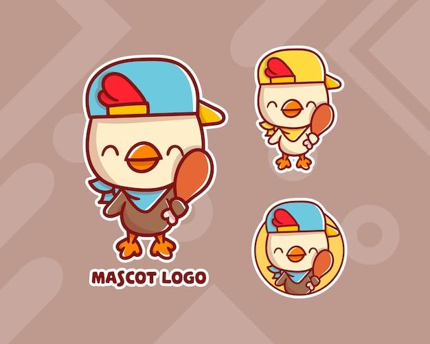 Набор симпатичного логотипа талисмана курицы с дополнительным внешним видом.