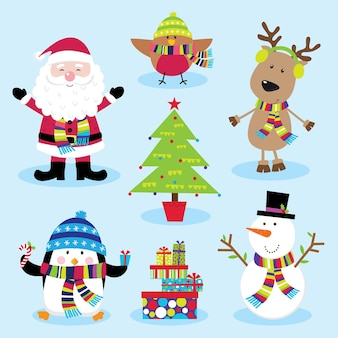 かわいいクリスマスキャラクターかわいいサンタクロースと友達のセット