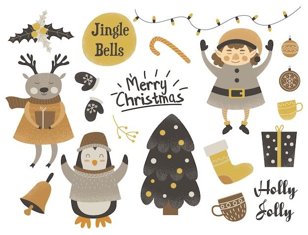 かわいいクリスマスキャラクターのセット