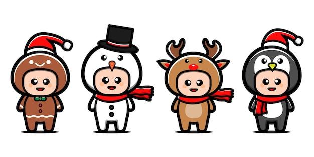 Набор милый рождественский персонаж