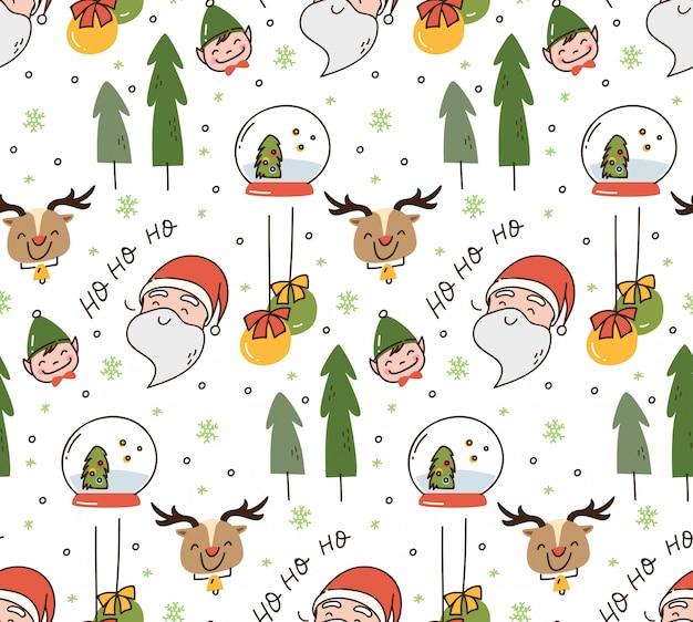 귀여운 크리스마스 낙서 배경 세트