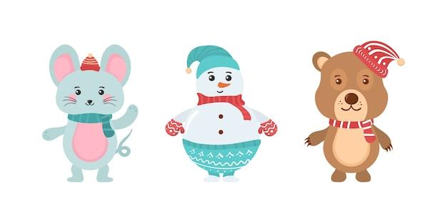 귀여운 크리스마스 숲 동물의 집합입니다. 귀여운 만화 캐릭터 흰색 배경에 고립의 컬렉션입니다. 동물들과 함께 크리스마스와 새 해 요소의 집합입니다.