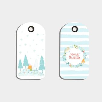 かわいいクリスマスギフトタグ、メリークリスマスのレタリングが付いたカード、動物、プリセット、木、雪片のセット。簡単に編集できるテンプレート。はがき、ポスター、バッジ、バナーの完璧なイラスト。