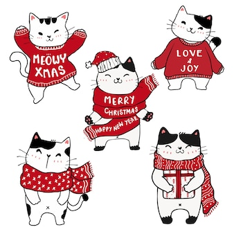 귀여운 크리스마스 고양이 고양이 손 그리기 세트
