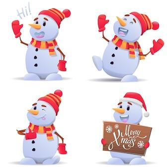 かわいいクリスマス雪だるまイラストのセット