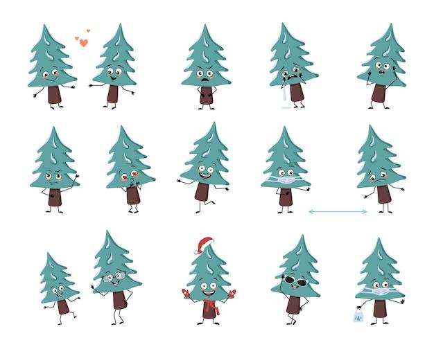 感情の顔の腕と脚の陽気なまたは悲しいお祭りの装飾とかわいいクリスマスツリーのキャラクターのセット...
