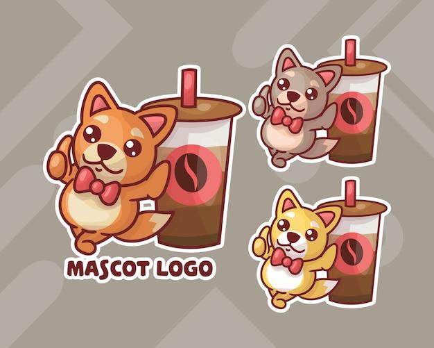 Набор симпатичного кофе и логотипа талисмана собаки с дополнительным внешним видом.