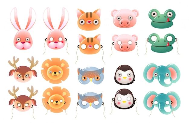 休日のためのかわいいカラフルな子供動物マスクのセット