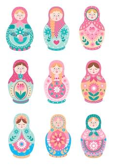 귀여운 다채로운 러시아 전통 중첩 인형 세트
