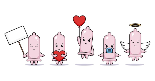 バレンタインデーのかわいいコンドームのセット