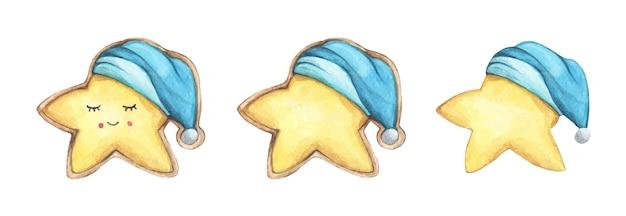 ナイトキャップのかわいいクッキースターのセット。手描きの水彩画のおいしいクッキー。