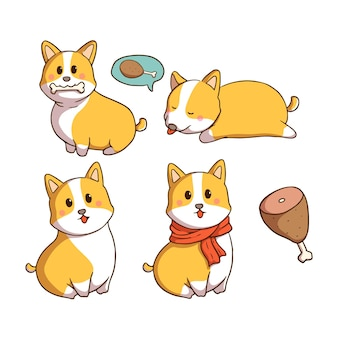 色の落書きスタイルのかわいいコーギー犬のセット