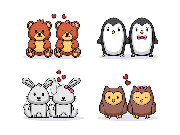Набор милой пары животных день святого валентина