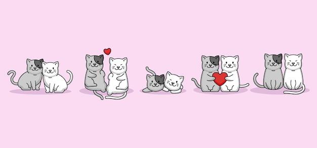 バレンタインデーに大好きなかわいいカップルの猫のセット