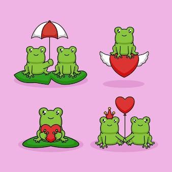발렌타인 데이에 귀여운 커플 개구리 사랑 세트