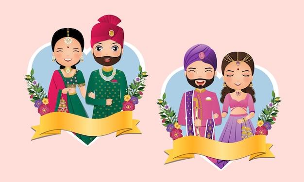 伝統的なインドのドレスの漫画のキャラクターのかわいいカップルのセット新郎新婦。結婚式。