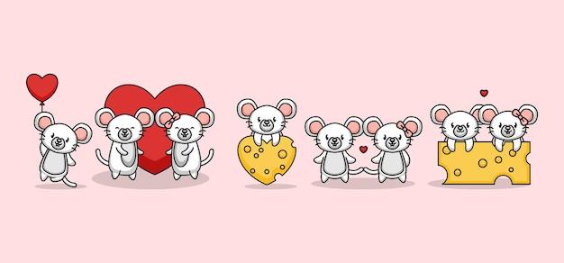 Набор милой пары мыши любви в день святого валентина