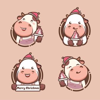 맛있는 아이스크림과 요구르트를 들고 있는 귀여운 암소 크리스마스 세트. 귀여운 스타일