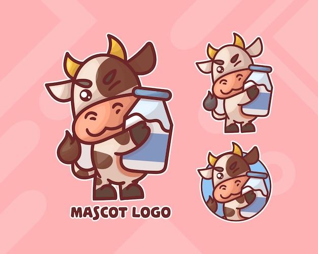 オプションの外観を持つミルクマスコットのロゴが付いたかわいい牛のセット。