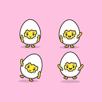 さまざまなポーズ、アイコンベクトルイラストとかわいいひびの卵のセット