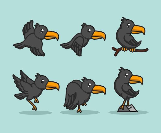 Набор милых птиц ворона ворон