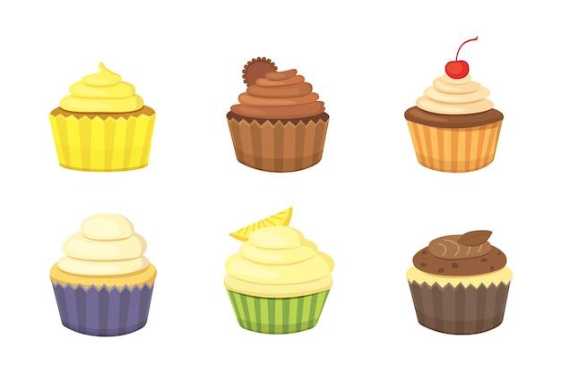 귀여운 컵 케이크와 머핀 세트입니다. 음식 포스터에 대 한 다채로운 컵 케 익입니다.