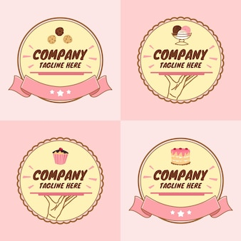 분홍색 배경의 귀여운 디저트 또는 컵케이크와 베이커리 로고 템플릿 세트