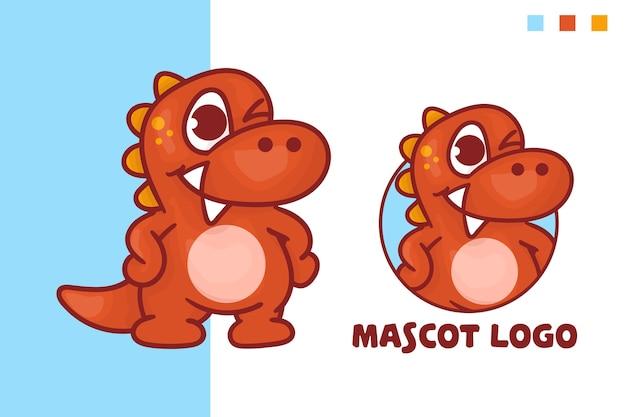 옵션 모양의 귀여운 공룡 마스코트 로고 세트.