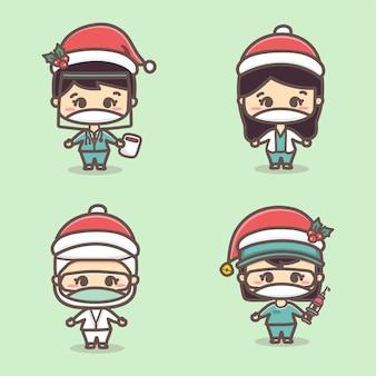 Набор милых доктора и медсестры, рождественские маски, празднующие рождество, новую нормальную концепцию. каваи стиль