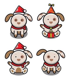 Набор милой собаки. изолированная концепция животных. плоский мультяшном стиле