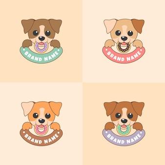 ライトブラウンの背景にカラフルなドーナツとかわいい犬の顔ベクトルイラストのセット