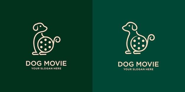 Набор милой собаки с кинооборудованием. хороший дизайн логотипа для движка или кинематографа