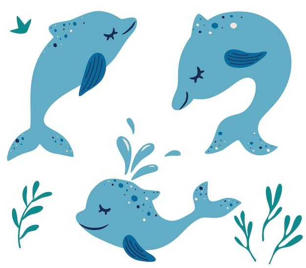 귀여운 돌고래 세트 다른 포즈 해양 포유류 만화 캐릭터 재미 돌고래