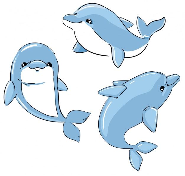 Набор милых дельфинов, изолированных на белом фоне. иллюстрация персонажей мультфильма. элементы для дизайна.