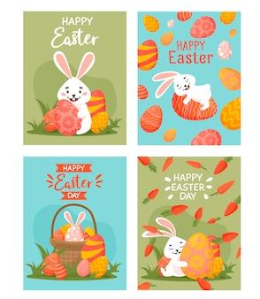 Набор милых пасхальных открыток. коллекция открыток с пасхальным кроликом, яйцами и морковью