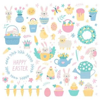 かわいいイースター漫画のキャラクターとデザイン要素のセットです。ウサギ、鶏、卵、花。