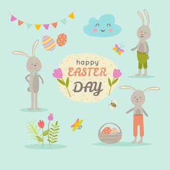 Набор милых персонажей мультфильма пасхи и элементов дизайна. пасхальный кролик, бабочки, яйца и цветы. векторная иллюстрация на пастельном бирюзовом фоне
